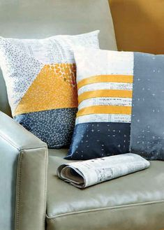 pattern GEOMETRIC PILLOWS by Brigitte Heitland , made from Fragile fabrics, feat. in MODERN PATCHWORK magazine