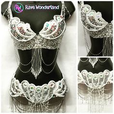 White and Silver Mermaid Scales Bra and Belt Set