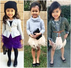 Sydne Style A to Z Trend Guide Kids little girl fashion how to dress your child in style beanies turtleneck feather skirt ballet flats winter outfit inspiration army jacket stripes