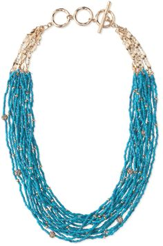 """CALLIAH NECKLACE  TURQUOISE is in!  One of the new Summer Collection 2012 from Stella and Dot.  Faceted brass chains cascade into layers of turquoise hued beads and pave balls.  20"""" length + 2-ring extender.  Adjustable to appromixately 21 3/4"""".  Toggle clasp.  Lead & nickel safe."""