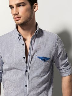 {10} {11} {9}´ss SLIM FIT STRIPED SHIRT WITH POCKET DETAIL at Massimo Dutti for 39.95. Effortless elegance! Pocket Detail, Casual Shirts, Menswear, Mens Tops, Slim, Cotton, Fashion, Men's Shirts, Clothes