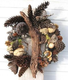 Pinecone Driftwood and Dried Seed Pod Wreath by BeacheryDesigns, $55.00