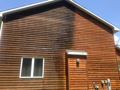 Remove Mildew from Cedar Siding with Pool Shock. Use Sodium Hypochlorite, not Calcium. Spray with household sprayer and then remove with a power washer. Do it twice for best results and ensure that you get all bleach off before refinishing!