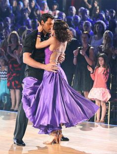 Meryl Davis and Maksim Chmerkovskiy appear in a still from 'Dancing With The Stars' season 18 on May 20, 2014.