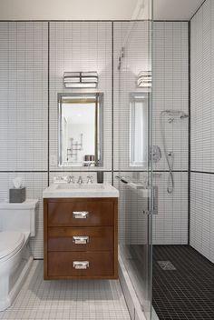 SBL: Bathrooms Modern bathroom with walnut wood floating vanity designed by S. Long Interiors // m Parisian Bathroom, Modern Bathroom Tile, White Vanity Bathroom, Wood Bathroom, Bathroom Interior, Wood Vanity, Bathroom Ideas, Tile Bathrooms, Bathroom Trends