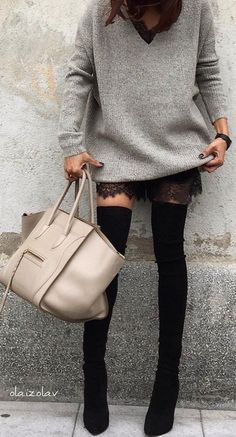 #fall #outfits · Grey Sweater + Leather Tote + Knee Length Boots