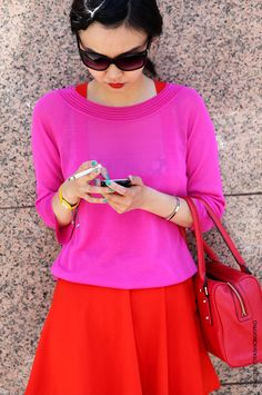 Hot pink, Bright red. Love together