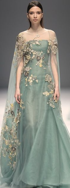 Pale sage green gown with floral details and pretty lace, COUTURE 2015 AUTUMN/WINTER // Castlefield Bridal