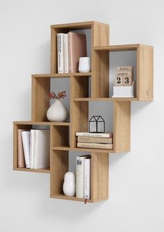 "Wall shelf ""Lotta I"" - in oak NB- Wandregal ""Lotta I""- in Eiche NB Wall shelf ""Lotta I"" Made in Germany with 6 large and 2 small compartments in oak imitation - Diy Bookshelf Design, Wall Shelves Design, Wall Mounted Shelves, Cd Shelf, Diy Bookshelf Wall, Creative Bookshelves, Wooden Wall Shelves, Bookshelf Ideas, Diy Wall"