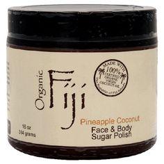 ORGANIC BODY EXFOLIANT: Organic Fiji Sugar Polish, Pineapple Coconut, 20-Ounces