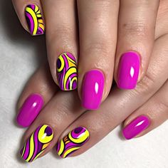 Brazilian carnival nail art in magenta and yellow gloss.  by thenailbarsydney http://ift.tt/1NRMbNv