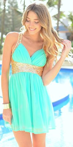 Mint + gold glitter dress