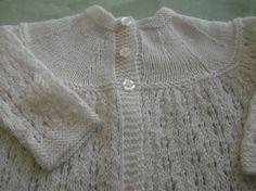 Hand Knit Vintage Style Baby  Matinee Coat Sweater Set Merino Baby Yarn