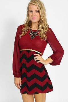 Red chevron dress perfect for the holidays