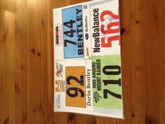 Another idea for race bibs: photocopy in colour each bib, then laminate to use as place mats.