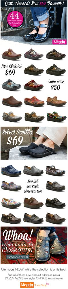 Our Biggest Semi-Annual Clearance Sale Ever Starts Now - 44 Brand New Closeouts!  Hurry while the selection is still good! | Alegria Shoe Shop #AlegriaShoes #closeouts #sale #memorialday #happyhappens #findyourhappy #seriouspersonality #seriouscomfort