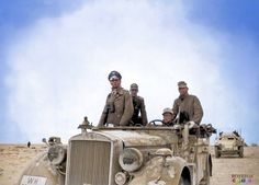 General Rommel with the 15th Panzer Division between Tobruk and Sidi Omar_ Libya, November 24, 1941 | Colour by Royston | Pin by scann R https://www.facebook.com/182158581977012/photos/a.182161278643409.1073741827.182158581977012/505185276341006/?type=3&theater