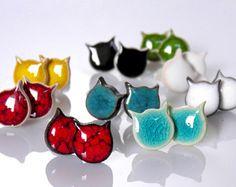 Gatto stud orecchini gatto orecchini orecchini in ceramica argento post argilla di piccoli gatto gatto nero gatto rosso turchese gatto gatto blu gioielli in ceramica