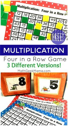 Students will have a blast trying to beat their partner in this Multiplication Four in a Row Game! Set up is easy and 3 game versions are included.  #mathgame #easymathgame #multiplication #homeschool #math