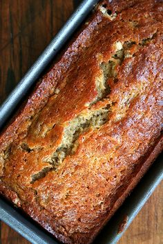 Myers' Banana Bread Moist, perfectly sweet, and always quick to disappear, Mrs. Myers' banana bread is the best I've ever had. Just Desserts, Delicious Desserts, Dessert Recipes, Yummy Food, Dinner Recipes, Moist Banana Bread, No Butter Banana Bread, Buttermilk Banana Bread, Homemade Buttermilk