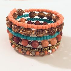 Excited to share this item from my shop: Funky Fresh Summer Catch - Wrap/Memory Wire Bracelet in Coral/Gold/Rose/Wood/Teal Memory Wire Rings, Memory Wire Jewelry, Memory Wire Bracelets, Gold And Silver Rings, Coral And Gold, Beaded Jewelry, Beaded Bracelets, Embroidery Bracelets, Handmade Jewelry