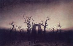 Artist of the day: Caspar David Friedrich. Abbey in the Oak Forest, 1810. Oil on canvas. Friedrich was the master of the Romantic transendental landscape. The mood of this winter scene with the ruins of a Gothic church demands the silence appropriate to sacred paintings. Yes, this is a painting, not an old photo.