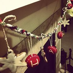 """NS pottery snowflake pottery ornaments + west elm letter ornaments ::: spell out """"HARK"""" on a fabric scrap braided garland."""