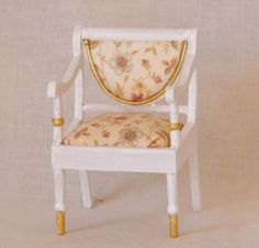 dollhouse miniature 1:12 scale Empire-style armchair, painted white, gold trim