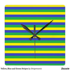 Yellow, Blue and Green Stripes Square Wall Clock