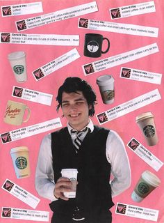 this man and his love for coffee Gerard Way MCR My chem. My Chemical Romance. Three Cheers for Sweet Revenge
