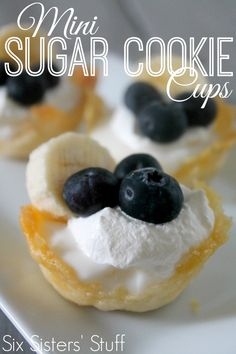 Mini Sugar Cookie Cups from SixSistersStuff.com! After 3 fails, I finally figured out how to made the cookie cups on the backside of a mini muffin tin. Find out how I did it!