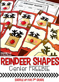 Reindeer Shapes: A Shape Center Christmas Math, Preschool Christmas, Preschool Classroom, Christmas Activities, Kindergarten Activities, Christmas Things, Christmas Ideas, Christmas Crafts, Recording Sheets