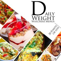I love Weight Watchers recipes!  These Daily Weight Watchers Menus with 20 Points or Less are a must-try!  #weightwatchers #recipes #weightloss
