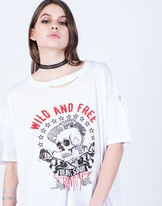 Detail of Wild and Free Tee