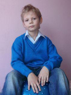 Купить Пуловер вязаный Василёк Джемпер мужской Свитер и Вязаный полувер - мужской вязаный свитер