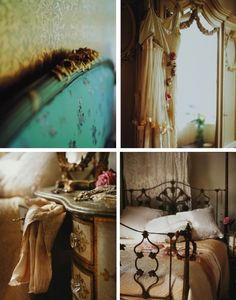 French Boudoir Themed Bedroom, iron bed or upholstered bed, curtains/garland, linens and side table. . .