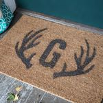 Stencil This Antler and Monogram Door Mat for Your Winter Decor @LiaGriffith.com