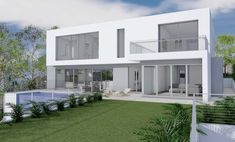 Architect Designed Home Concept - Waterfall East Killara Open Space Living, Living Spaces, 3d Home Design, House Design, Waterfall House, Old Cottage, Australian Architecture, Hamptons House, Concept Architecture