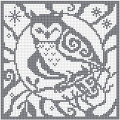filet crochet charts owl | ... square chart for cross stitch, crochet colour work and filet crochet