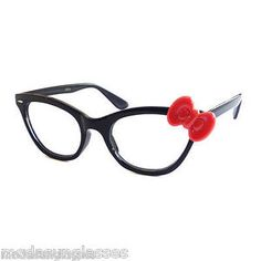 b65fbb5b349 Hello Kitty Style Women Sexy Nerd Bow Frame Clear Lens Eye Glasses New  Black Red