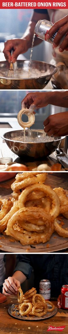 Our recipe for Beer-Battered Onion Rings with Budweiser brings Super Bowl appetizers to a new level. Just combine flour, Bud, salt, pepper, and paprika to make the batter. Dip onions into mixture and fry in oil until golden brown. It's that easy.