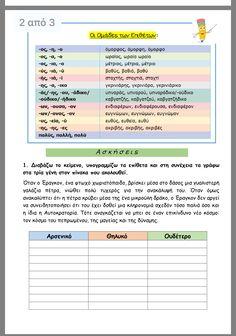 Greek Language, Back 2 School, School Organization, Second Grade, Special Education, Homework, Grammar, Kids Learning, Classroom