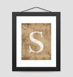 Distressed Letter Monogram Print Wall Art and Decor - Select Any Alphabet Letter or Symbol, via Etsy.