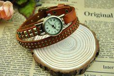 Handmade leather rivet belt retro bracelet watch by BeautifulShow, $16.99