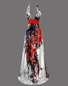 Unique Floral V Neck Halter Backless Maxi Long Party Dresses 18 Red Evening Dresses, Dresses Dresses, Floral Dresses, Party Dresses, Unusual Wedding Dresses, Backless, Glamour, Couture, My Style