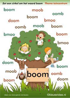 Zoek het juiste woord boom , thema tuincentrum, juf Petra van kleuteridee , free printable.Leuke site