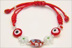 Pulsera roja de plata y cristales de murano