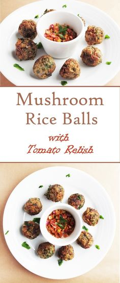 Vegan mushroom risotto/rice balls with a home made sundried tomato relish Vegan Mushroom Risotto, Mushroom Rice, Mushroom Recipes, Salmon Risotto, Risotto Rice, Rice Snacks, Baby Snacks, Vegan Rice Dishes, Delicious Recipes