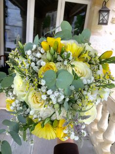 Beautiful while , yellow and green bouquet  www.frenchweddingchateau.com
