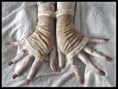 Items similar to Drifter Fingerless Gloves - Tan Brown Gold Roses Ivory Cream Tea Stained - Victorian Gothic Vampire Regency Edwardian Wedding Bohemian Boho on Etsy Gothic Corset, Victorian Gothic, Victorian Fashion, Steampunk Belle, Taupe Wedding, Fingerless Gloves, Style Inspiration, Boho, Trending Outfits